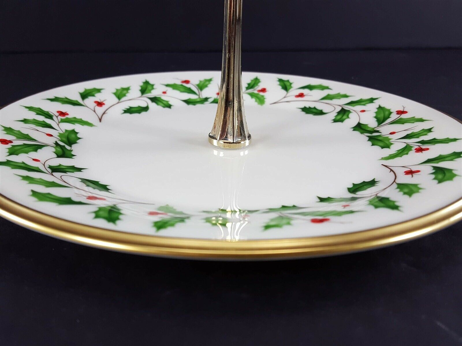 """LENOX China Holiday Dimension Round Tidbit Plate with Handle 8-1/4"""" Dinnerware image 3"""