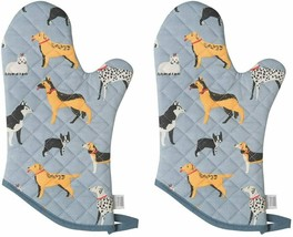 Nice Oven Mitt Set Pair of 2 Pink Dog Puppy Oven Mitts Potholders Quilte... - $39.00
