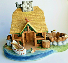Gone Fishin'  Lakeside Log Cabin Tealight Candle Holder Village PartyLit... - $24.70