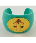 COACH Turquoise Gold Plate Turnlock CUFF BRACELET -Stunning Statement -F... - £47.10 GBP