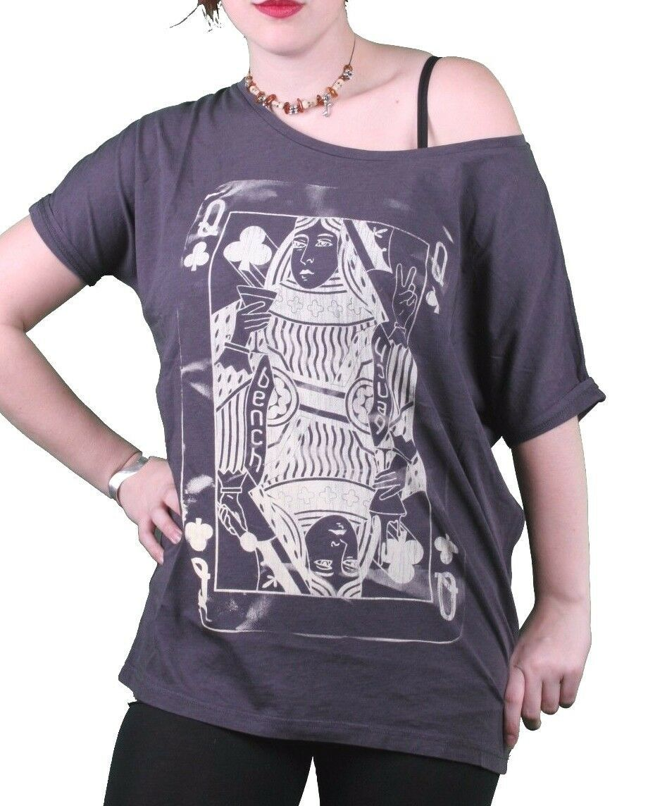 Bench UK Womens Navy Queeny Clover Playing Card Scoop Neck T-Shirt BLGA2363 NWT