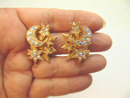 Vintage Kirks Folly Stars Moon Gold Tone Clip Earrings Rhinestone AB Cry... - $36.14
