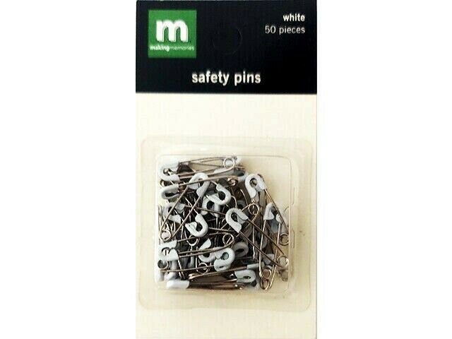 Making Memories Mini White Safety Pins #23144