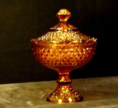 Amber glass diamond point footed compote-candy dish AA19-1601 Vintage image 8