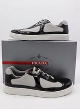 NIB PRADA Mens New Americas Cup Black Patent White Mesh Low-top Sneakers 9  - $325.00