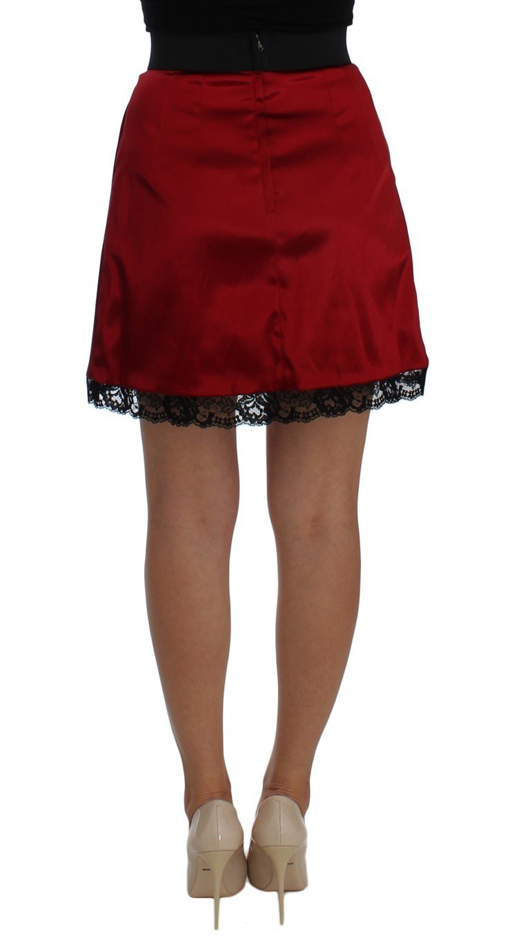 Dolce & Gabbana Red Black Lace A-Line Above Knee Skirt