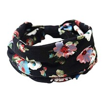 2 PCS Elastics Sports Head Cloth Hair Bands (Black Flower Pattern, 23x20 cm)