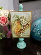 """Easter Vintage Style HELLO SPRING Chick Tabletop Wood Sign Decor 11.5"""" - $24.99"""