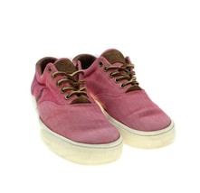 POLO RALPH LAUREN Vaughn Mens Red Chambray / Leather Lace Up Canvas Snea... - $24.74