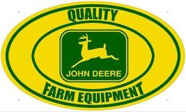 Quality Farm Equipment John Deere Logo Yellow/Green Oval Metal Sign - $49.95