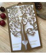 50pcs Pearl Brown laser cut Wedding Invitations Cards,Birthday Invitatio... - $53.80