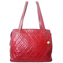 Vintage CHANEL deep red color classic quilted lamb leather tote bag with... - $1,012.00