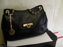 Womens Dkny Donna Karan Ego Leather Crosby Purse Bag Black New - $158.35