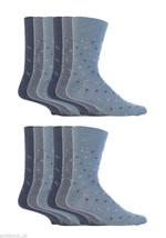 12 Pairs Mens Gentle Grip Socks Size 6-11 Uk, 39-45 Eur MGG44 Denim Squares - $18.18