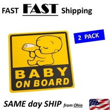 Car Exterior Baby on Board Safety Sign Sticker Decal 11cm x 11cm ---- 2 ... - $10.88