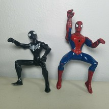 """Spiderman Action Figures Lot of 2 Black Suit & Marvel Size 5"""" Tall  - $10.50"""