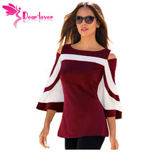 DearLover Women Blouse Black White Colorblock Bell Sleeve Cold Shoulder Top Muje image 5