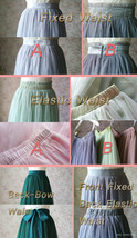 Dark Green Wedding Tulle Skirt with Bow Dark Green Bridesmaid Long Tulle Skirts image 9