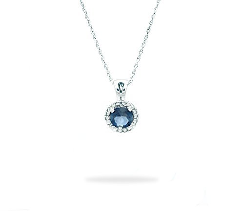 10 K White Gold Small Solitare Genuine Gemstone Pendant with Cable Chain