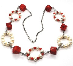 SILVER 925 NECKLACE, CIRCLES PEARLS AND CORAL ALTERNATING, CUBES OF CORAL image 1