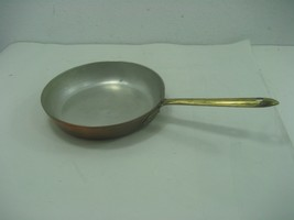 Vintage Tagus Copper Coated Stainless Steel Interior Skillet Pan Brass H... - $28.01