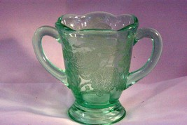 Paden City 1935 Peacock And Wild Rose Green Open Sugar Bowl - $48.50