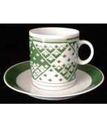 Cup and Saucer Favolina Green Geometric Poland Espresso 1950s Demitasse ... - $18.00