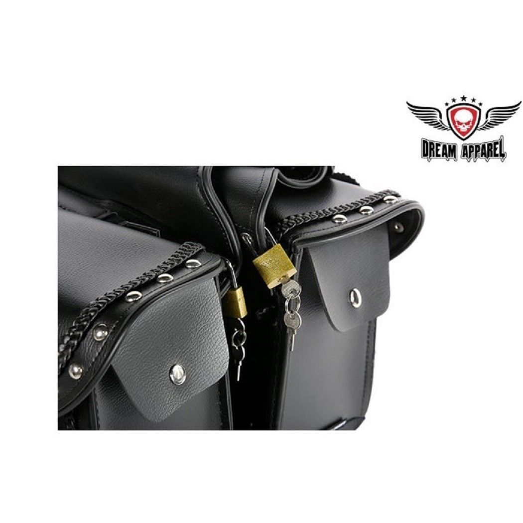 "13/"" Motorcycle Saddlebags W// GUN POCKETS For Many HARLEY/'s NO BRACKETS NEEDED!"