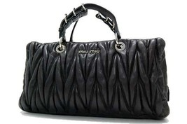 AUTHENTIC MIU MIU Matelasse Small Hand Bag Dark... - $590.00