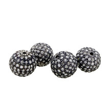 10 MM Spacer Ball 925 Sterling Silver 1.06 Ct Pave Diamond Bead Finding ... - $256.81