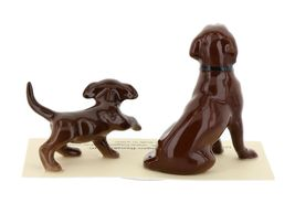 Hagen Renaker Dog & Puppy Labrador Retriever Chocolate Ceramic Figurine Set image 6