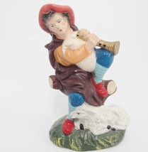 """Vintage Shepherd Figurine with Lamb and Flute Made in Japan 4.25"""" Tall - $14.84"""
