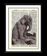 Elephant Gargoyle Dictionary Art Print Notre Dame de Paris Mixed Media a... - $10.99