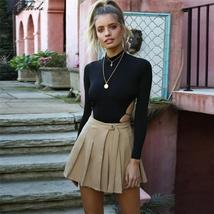 Macheda Backless Bodysuit Black Highcollar Sexy Slim Women Club Autumn Bodysuits - $23.44