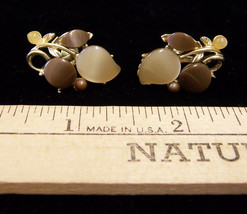 Vintage Goldtone Screw Back Leaf Design Earrings w/ Brown & Tan Colored ... - $6.92