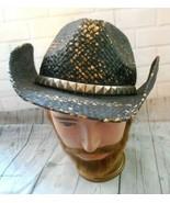Peter Grimm Black Gold Distress Straw Fiber Silver Tone Trim Cowboy Drif... - $46.50