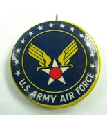 Vintage Pin Back Button United States Army Air Force Blue Gold Wings Star - $18.87