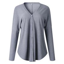 Women Autumn Winter V-neck Sexy Plus Size tops Button Long Sleeve Solid ... - $29.16+