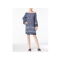 Style & Co Off-The-Shoulder Bell-Sleeve Blue Medallion Dress Size Small $59 - $14.85