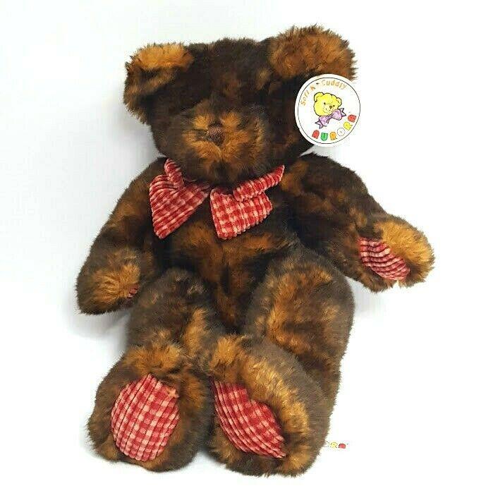 "Aurora Bear Brown Black 16"" Red Corduroy Bow & Paws Bean Bag Bottom Vintage Tags - $23.13"