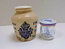 2 vtg GREY POUPON MUSTARD JARS LID POTTERY ANTIQUE CROCK & TINY GLASS JA... - £33.53 GBP
