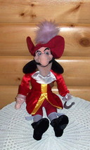 "Disney Peter Pan Captain Hook Plush 20"" Red Stunning Outfit Villain Needs Love - $11.59"