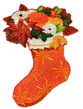 "Merry Christmas Stocking Bouquet Embroidered Iron on/Sew patch [6.85""4.8... - $17.81"