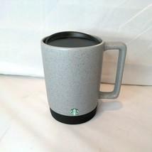 Starbucks Matte Gray Ceramic Coffee Mug Rubber Bottom Black Lid Mermaid ... - $24.69