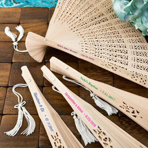40 Personalized Sandalwood Garden Fans Wedding Bridal Baby Shower Party ... - $51.08