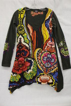 DESIGUAL Multi-Colored Printed Floral, Glitter & Jeweled 100% Cotton Tee... - $42.00