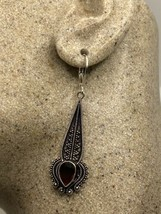 Vintage Garnet Earrings 925 Sterling Silver LeverBack Dangle - $64.35