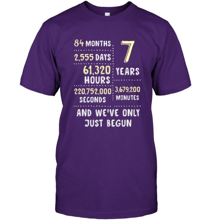 7th Wedding Anniversary Gift Ideas For Her: Womens 7th Wedding Anniversary T Shirt Gift For Her
