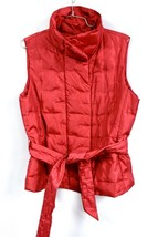 Talbots Petites Red Puffer Belted Vest Goose Down Petite Size PM Sweet! ... - $34.99