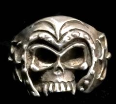 Vintage Men Skull Biker Sterling Silver Gothic Punk Ring w Helmet Size 12  - $85.00